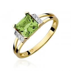 Pierścionek złoty z oliwinem